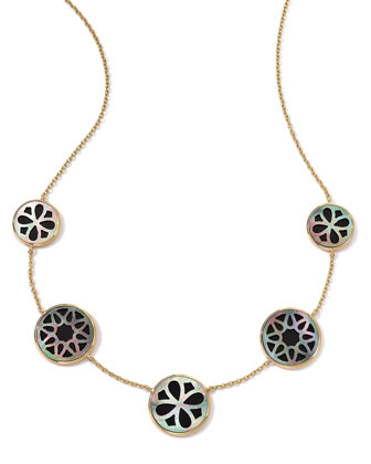 18K Gold Polished Rock Candy Cutout Stone 5-Station Necklace in Phantom, 16-18