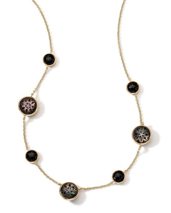 18K Gold Polished Rock Candy Cutout Stone 7-Station Necklace in Phantom, 16-18