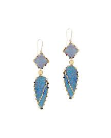 Frosted 14k Opal Drop Earrings