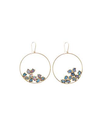 Frosted 14k Gold Multi-Opal Eclipse Earrings