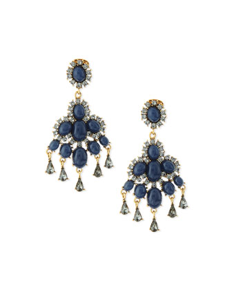 Cabochon Chandelier Earrings, Navy