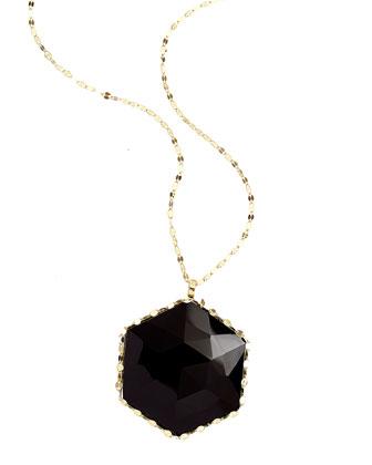 Dusk 14k Gold Necklace with Rose-Cut Onyx Pendant, 30