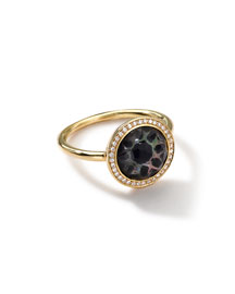 18K Gold Polished Rock Candy Small Round Ring in Phantom with Diamonds