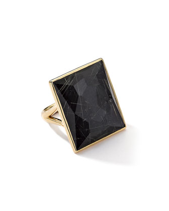 18K Gold Gelato Medium Baguette Ring in Quartz/Hematite
