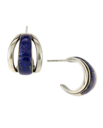 Inlaid Lapis Cage Earrings