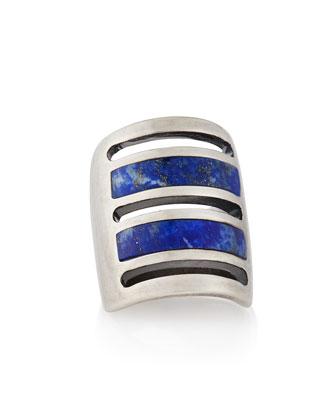 Silver Lapis Inlay Path Ring