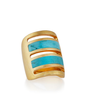 Irissa Gold-Plated Turquoise Path Ring