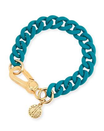 Rubber Curb Chain Bracelet, Green