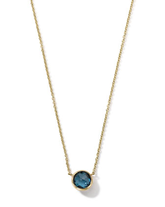 18K Gold Mini-Lollipop Birthstone Necklace (March), 16-18