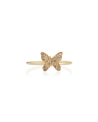 Pave Diamond Mini Butterfly Ring