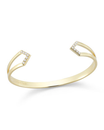 Kuril 23k Gold-Plate V-Tip Bangle