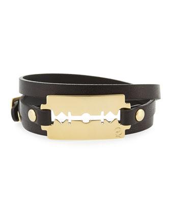 Leather Razor-Blade Wrap Bracelet, Black