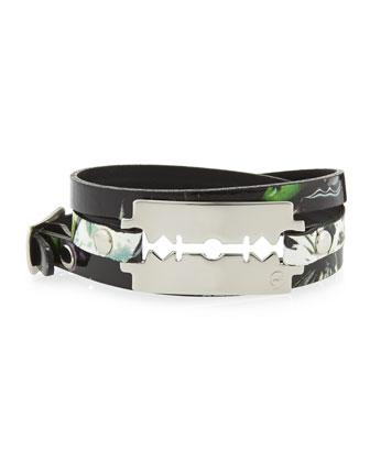 Floral-Print Leather Razor-Blade Wrap Bracelet