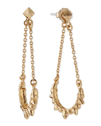 Tribal Spike Chain Drop Earrings, Gold-Plate