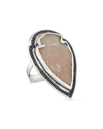 Jasper Arrowhead Ring with Pave Sapphire