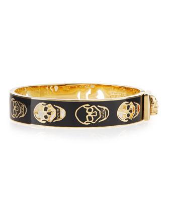 Pierced Skull Bangle Bracelet, Black