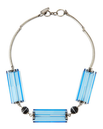 Two-Tone Cutout Station Necklace, Blue/Silver