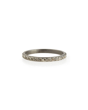 Champagne Diamond Silver Stackable Ring