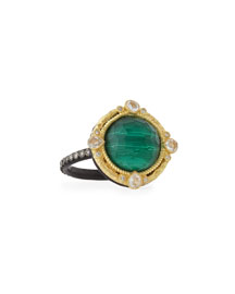 Malachite Blue Topaz Diamond & Sapphire Ring