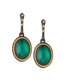 Malachite Blue Topaz Rope-Bezel Drop Earrings
