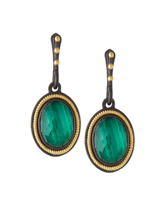 Malachite Rope-Bezel Drop Earrings