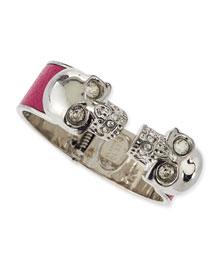 Leather Double Skull Cuff Bracelet, Pink