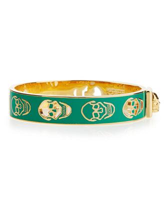 Pierced Skull Bangle Bracelet, Green