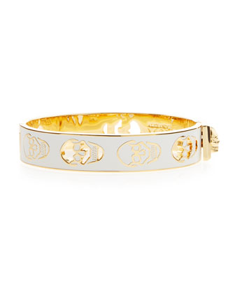 Pierced Skull Bangle Bracelet, White