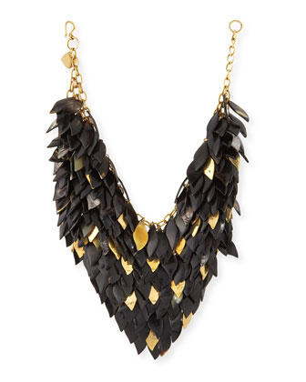 Tanzu Dark Horn Layered Chain Leaf Necklace