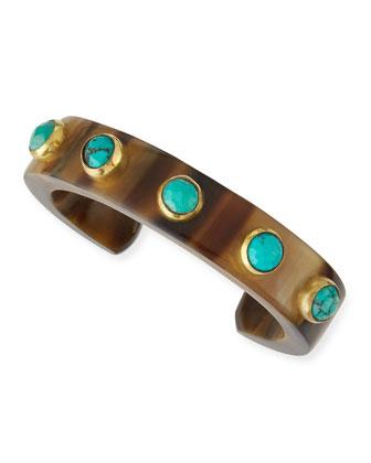 Mbegu Dark Horn & Turquoise Cuff