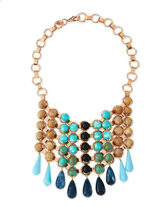 Medine Rose Golden Turquoise Bib Necklace