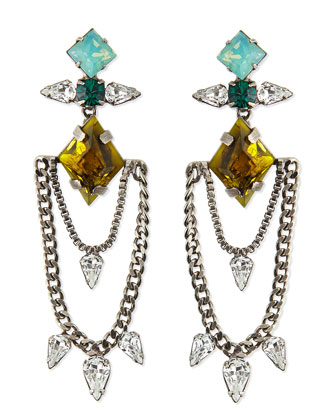 Nadia Crystal Chain Earrings