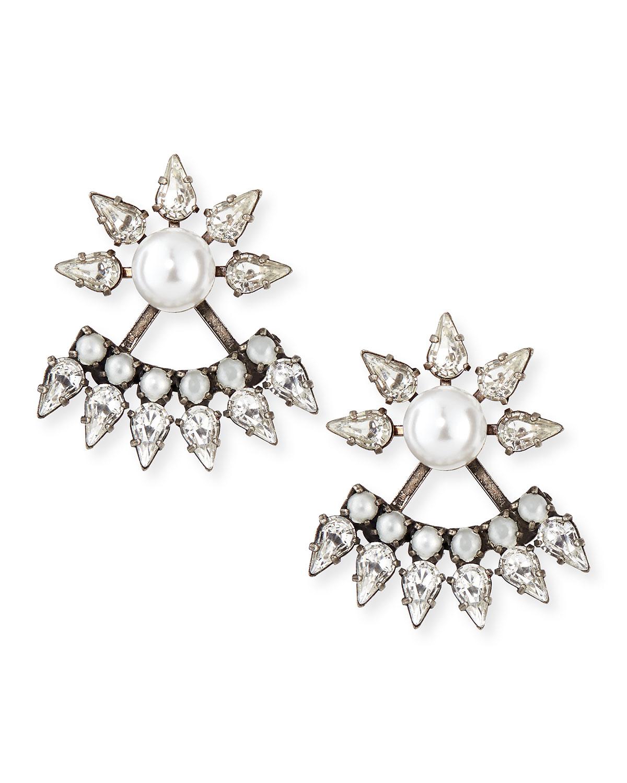 Dannijo Tessie Crystal Jacket Earrings, SILVER