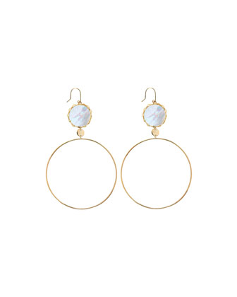 Blanca 14k Mother-of-Pearl Dangle Hoop Earrings