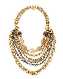 Johari Bronze & Pyrite Multi-Strand Necklace