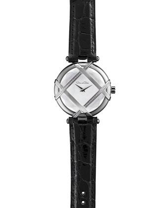 Pave Diamond Watch with Alligator Strap, Black
