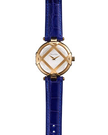 Yellow Golden Watch with Alligator Strap, Blue