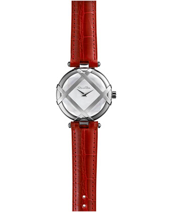 Stainless Steel Watch with Alligator Strap, Red