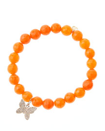 8mm Orange Agate Beaded Bracelet with 14k Rose Gold Diamond Butterfly Charm (Made to Order) ...