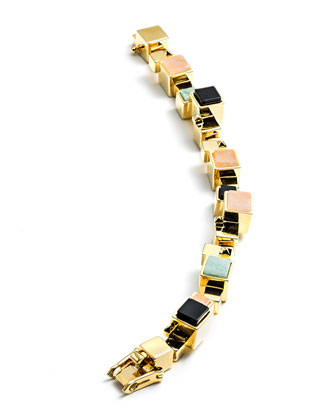 Gold-Plated Composition Cube Bracelet