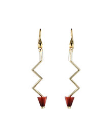 Gold-Plated Carnelian Zigzag Earrings