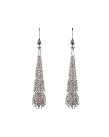 Silvertone Pave Plume Earrings