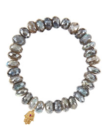 Mystic Labradorite Rondelle Beaded Bracelet with 14k Gold Hamsa Charm (Made to Order)