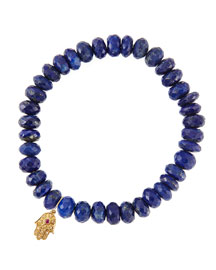 Lapis Rondelle Beaded Bracelet with 14k Gold Hamsa Charm (Made to Order)