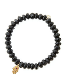 Black Spinel Rondelle Beaded Bracelet with 14k Gold Hamsa Charm (Made to Order)
