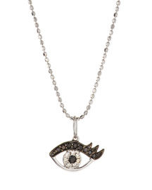 14k White Gold Eyelash Evil Eye Pendant Necklace