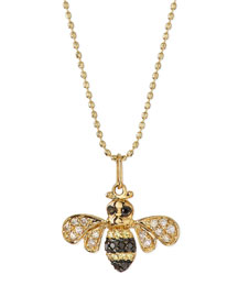 14k Gold Diamond Bee Pendant Necklace