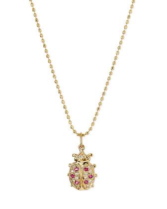 14k Gold Diamond & Ruby Ladybug Pendant Necklace