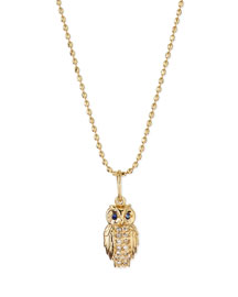 14k Gold Diamond Owl Pendant Necklace