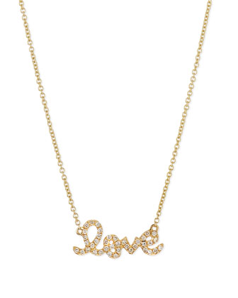 14k Gold Diamond Love Pendant Necklace
